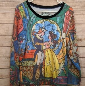 NWOT Disney Beauty and Beast Stained Glass Sweater